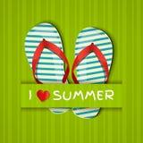 Αγαπώ το καλοκαίρι. Κάρτα με τις σαγιονάρες. Στοκ Φωτογραφία