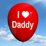 Αγαπώ το μπαλόνι μπαμπάδων παρουσιάζω συναισθήματα της στοργής Στοκ Εικόνες