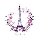 αγαπώ το Παρίσι Εικόνα του πύργου του Άιφελ επίσης corel σύρετε το διάνυσμα απεικόνισης Υπόβαθρο του Παρισιού Μόδα μοντέρνο ι του απεικόνιση αποθεμάτων