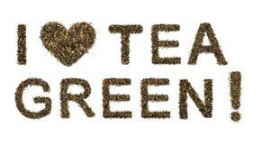 Αγαπώ το πράσινο τσάι Στοκ εικόνα με δικαίωμα ελεύθερης χρήσης