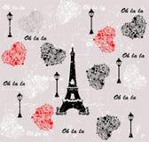 Αγαπώ το σχέδιο Παρίσι ταξιδιού Άνευ ραφής ανασκόπηση Στοκ φωτογραφία με δικαίωμα ελεύθερης χρήσης