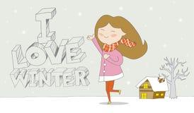 Αγαπώ το χειμερινό κορίτσι απολαμβάνω τις χιονοπτώσεις Απεικόνιση αποθεμάτων