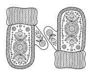 αγαπώ το χειμώνα Αστεία διανυσματικά γάντια Διανυσματική χρωματίζοντας σελίδα Στοκ Φωτογραφίες