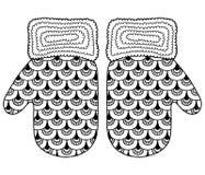 αγαπώ το χειμώνα Αστεία διανυσματικά γάντια Διανυσματική χρωματίζοντας σελίδα Στοκ Εικόνες