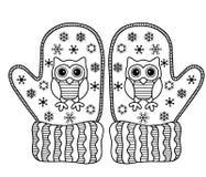 αγαπώ το χειμώνα Αστεία διανυσματικά γάντια Διανυσματική χρωματίζοντας σελίδα Στοκ Φωτογραφία
