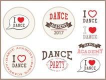 Αγαπώ το χορό, χορεύω ακαδημία, χορεύω κόμμα - στοιχεία, σημάδι, αυτοκόλλητες ετικέττες, κάρτα, πρότυπα, εμβλήματα, εικονίδια Διανυσματική απεικόνιση