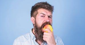 Αγαπώ το όμορφο hipster ατόμων μήλων με τη μακριά γενειάδα τρώγοντας το μήλο Juicy ώριμο μήλο δαγκωμάτων Hipster πεινασμένο Διατρ στοκ φωτογραφία