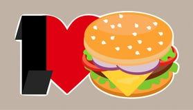 Αγαπώ Burger Στοκ φωτογραφία με δικαίωμα ελεύθερης χρήσης