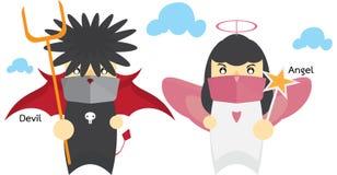 αγγέλου ανασκόπησης διανυσματικό λευκό αγάπης διαβόλων απομονωμένο απεικόνιση Στοκ εικόνες με δικαίωμα ελεύθερης χρήσης