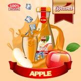 Αγγελίες της Apple χυμού με το λογότυπο και την ετικέτα Ρεαλιστικό editable πρότυπο Στοκ εικόνα με δικαίωμα ελεύθερης χρήσης
