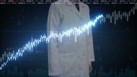 Αγγιγμένη οθόνη μηχανικών ερευνητών, διάφορες ζωντανεψοντες διαγράμματα και γραφικές παραστάσεις χρηματιστηρίου γραμμή αύξησης τε
