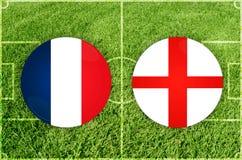 Αγγλία εναντίον του αγώνα ποδοσφαίρου της Ρωσίας στοκ εικόνα