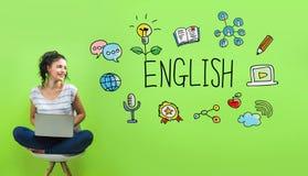 Αγγλικά με τη νέα γυναίκα στοκ φωτογραφία με δικαίωμα ελεύθερης χρήσης