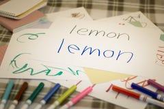 Αγγλικά  Παιδιά που γράφουν το όνομα των φρούτων για την πρακτική στοκ εικόνες