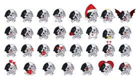 Αγγλικός ρυθμιστής κουταβιών σκυλιών Μεγάλο σύνολο διαφορετικών μικρών σκυλιών απεικόνιση αποθεμάτων