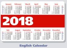 Αγγλικό ημερολόγιο τσεπών για το 2018 Στοκ Εικόνες