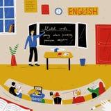 Αγγλικό μάθημα Δάσκαλος κοντά στον πίνακα στην τάξη ελεύθερη απεικόνιση δικαιώματος