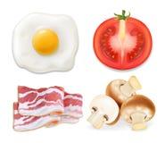 Αγγλικό πρόγευμα με τα τηγανισμένα αυγά, το μπέϊκον, τις ντομάτες και τα μανιτάρια ρεαλιστικά Στοκ εικόνες με δικαίωμα ελεύθερης χρήσης