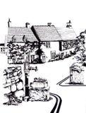 αγγλικό χωριό σκίτσο Στοκ Εικόνες