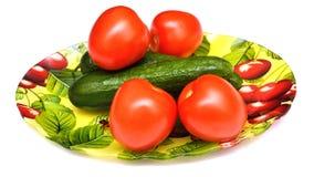 Αγγούρια και ντομάτες Στοκ Εικόνες