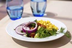 Αγγούρια, ντομάτες και σαλάτα καλαμποκιού σε ένα άσπρο πιάτο στοκ φωτογραφίες με δικαίωμα ελεύθερης χρήσης