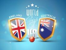 Αγγλία εναντίον της έννοιας αντιστοιχιών γρύλων Παγκόσμιου Κυπέλλου της Αυστραλίας Στοκ Φωτογραφίες