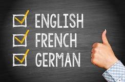Αγγλικά, γαλλικά και γερμανικά Στοκ εικόνες με δικαίωμα ελεύθερης χρήσης