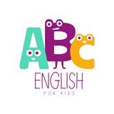 Αγγλικά για το σύμβολο λογότυπων παιδιών Ζωηρόχρωμη συρμένη χέρι ετικέτα Στοκ Εικόνες