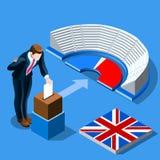 Αγγλική ψηφοφορία ανθρώπων έννοιας βρετανικής εκλογής και isometric κάλπη Στοκ φωτογραφία με δικαίωμα ελεύθερης χρήσης