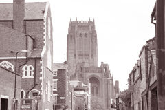 Αγγλικανικός καθεδρικός ναός και τοπικές οδοί, Λίβερπουλ Στοκ Φωτογραφίες