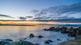 Αγγλικός κόλπος ηλιοβασιλέματος στοκ φωτογραφία