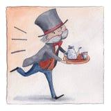 Αγγλικός οικονόμος που πιέζει χρονικά για να εξυπηρετήσει το τσάι πέντε ο-ρολογιών ελεύθερη απεικόνιση δικαιώματος