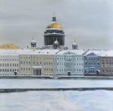 Αγγλικό ανάχωμα στην Άγιος-Πετρούπολη, χειμώνας δασικός ποταμός ελαιογραφίας τοπίων Στοκ Φωτογραφία