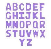 Αγγλικό αλφάβητο επιστολών Πορφύρα χρώματος Στοκ φωτογραφία με δικαίωμα ελεύθερης χρήσης