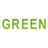 Αγγλικό αλφάβητο ΠΡΑΣΙΝΟΥ που γίνεται από την πράσινη χλόη στο άσπρο υπόβαθρο Στοκ Φωτογραφία