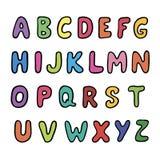 Αγγλικό αλφάβητο χρώματος σε ένα άσπρο διάνυσμα υποβάθρου Στοκ Φωτογραφίες