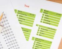 Αγγλικό φύλλο δοκιμής και απάντησης Στοκ εικόνα με δικαίωμα ελεύθερης χρήσης