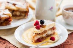 Αγγλικό ψωμί και βουτύρου πουτίγκα με τα μήλα και τα τα βακκίνια Στοκ Εικόνες