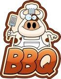 Αγελάδα κινούμενων σχεδίων και BBQ κείμενο Στοκ Φωτογραφίες