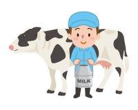 Αγελάδα που απομονώνεται γραπτή Γαλακτοκομικός αγρότης απεικόνιση αποθεμάτων
