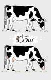 Αγελάδα αγελάδα που τρώει τη χλόη Αγελάδα που απομονώνεται, σύνολο στοιχείων διανυσματική απεικόνιση