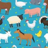 Αγελάδα χαρακτήρων αγροτικών διανυσματική ζώων εσωτερική, κοτόπουλο, χοίρος, απεικόνιση αποθεμάτων
