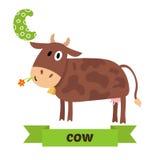 Αγελάδα Επιστολή Γ Χαριτωμένο ζωικό αλφάβητο παιδιών στο διάνυσμα Αστείο ασβέστιο ελεύθερη απεικόνιση δικαιώματος