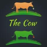 Αγελάδα ετικετών στο χορτοτάπητα απεικόνιση αποθεμάτων