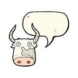 αγελάδα κινούμενων σχεδίων με τη λεκτική φυσαλίδα Στοκ εικόνα με δικαίωμα ελεύθερης χρήσης