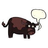 αγελάδα κινούμενων σχεδίων με τη λεκτική φυσαλίδα Στοκ εικόνες με δικαίωμα ελεύθερης χρήσης