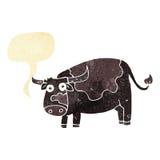 αγελάδα κινούμενων σχεδίων με τη λεκτική φυσαλίδα Στοκ Εικόνες