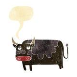 αγελάδα κινούμενων σχεδίων με τη λεκτική φυσαλίδα Στοκ Φωτογραφία