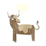 αγελάδα κινούμενων σχεδίων με τη λεκτική φυσαλίδα Στοκ Εικόνα