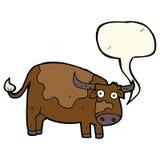 αγελάδα κινούμενων σχεδίων με τη λεκτική φυσαλίδα Στοκ Φωτογραφίες